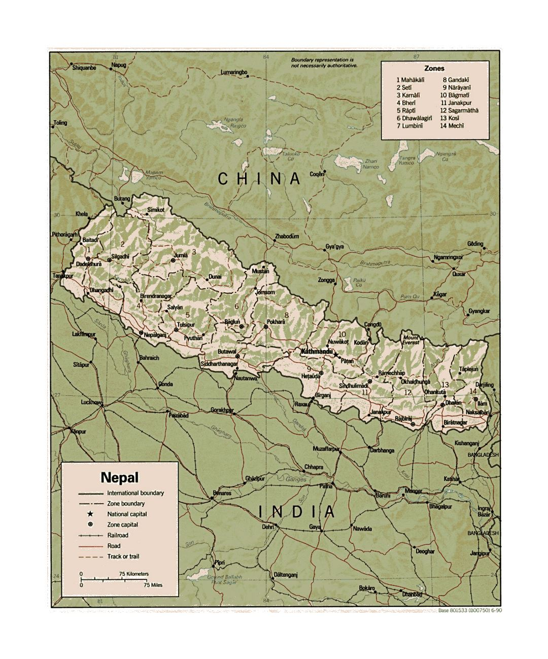 Detailed political and administrative map of Nepal with relief, roads, railroads and major cities - 1990