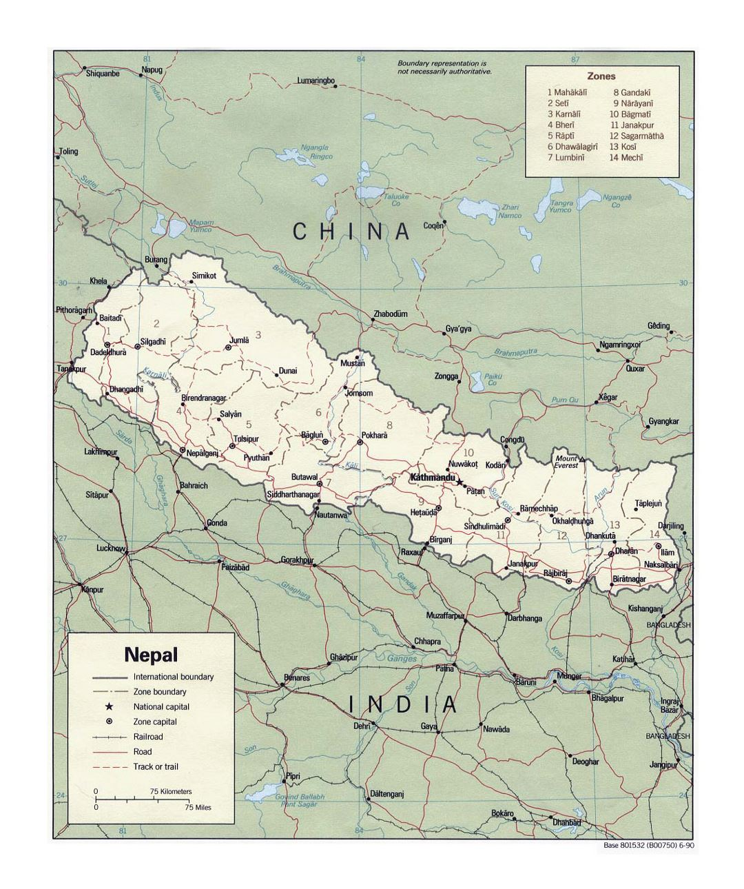 Detailed political and administrative map of Nepal with roads, railroads and major cities - 1990