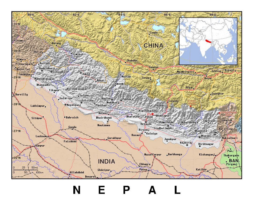 Detailed political map of Nepal with relief