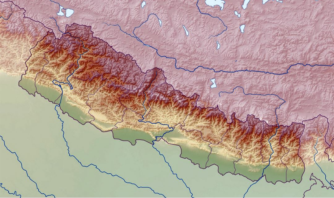 Detailed relief map of Nepal