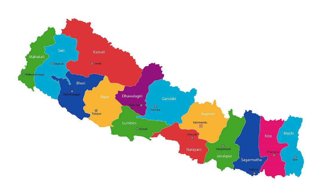 Large administrative map of Nepal
