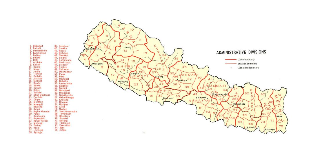 Large detailed administrative divisions map of Nepal - 1968