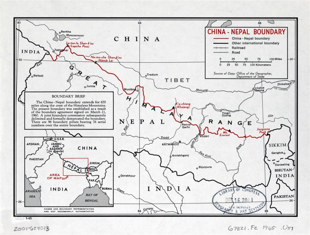 Large detailed China - Nepal boundary map - 1965