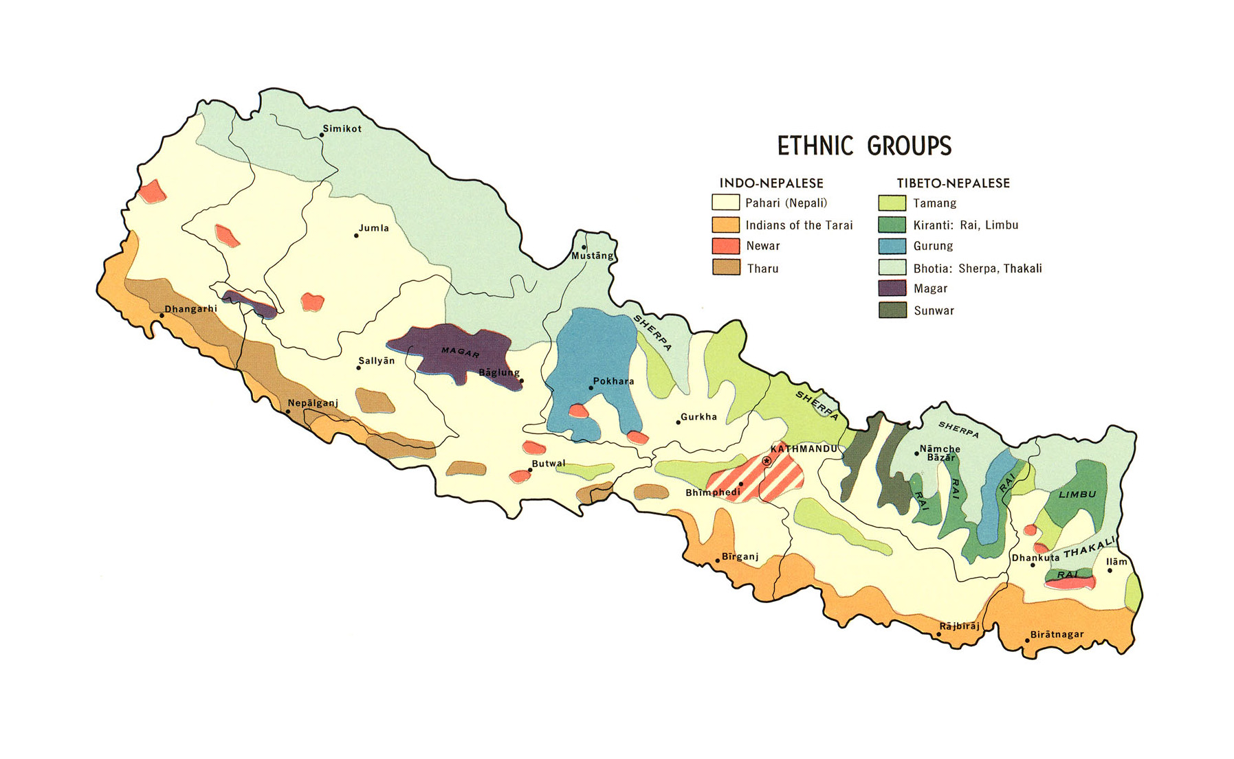 large detailed ethnic groups map of nepal 1968