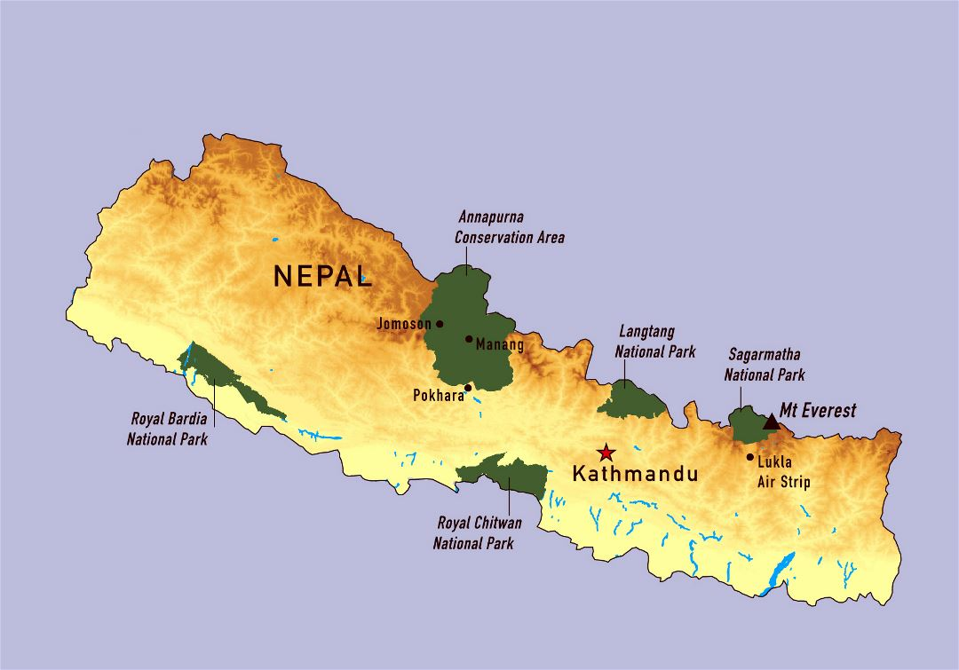 Large detailed map of Nepal with national parks