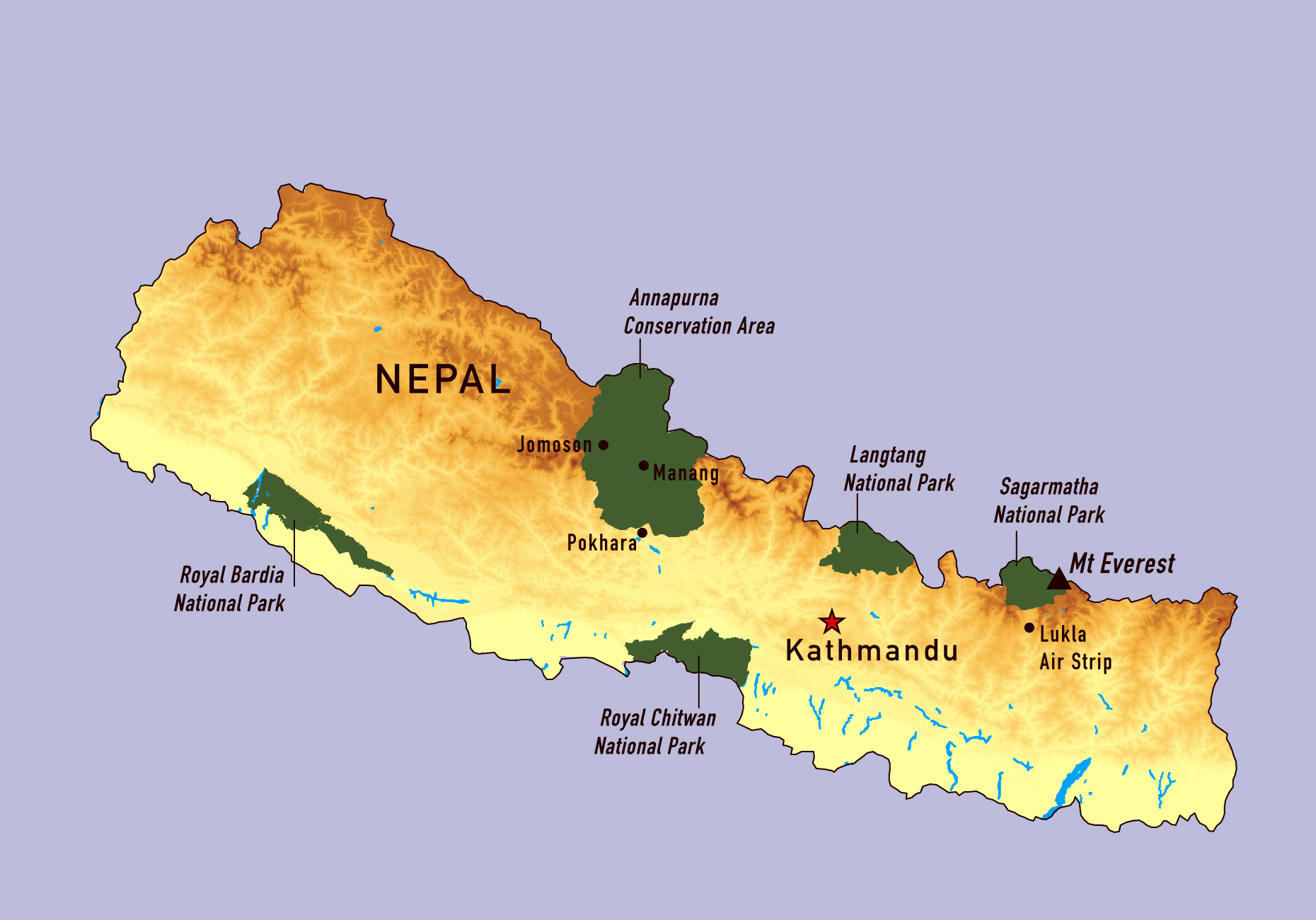 Large detailed map of Nepal with national parks Nepal Asia