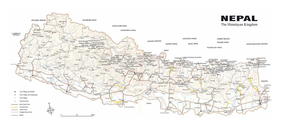 Large detailed map of Nepal with relief, roads and all cities