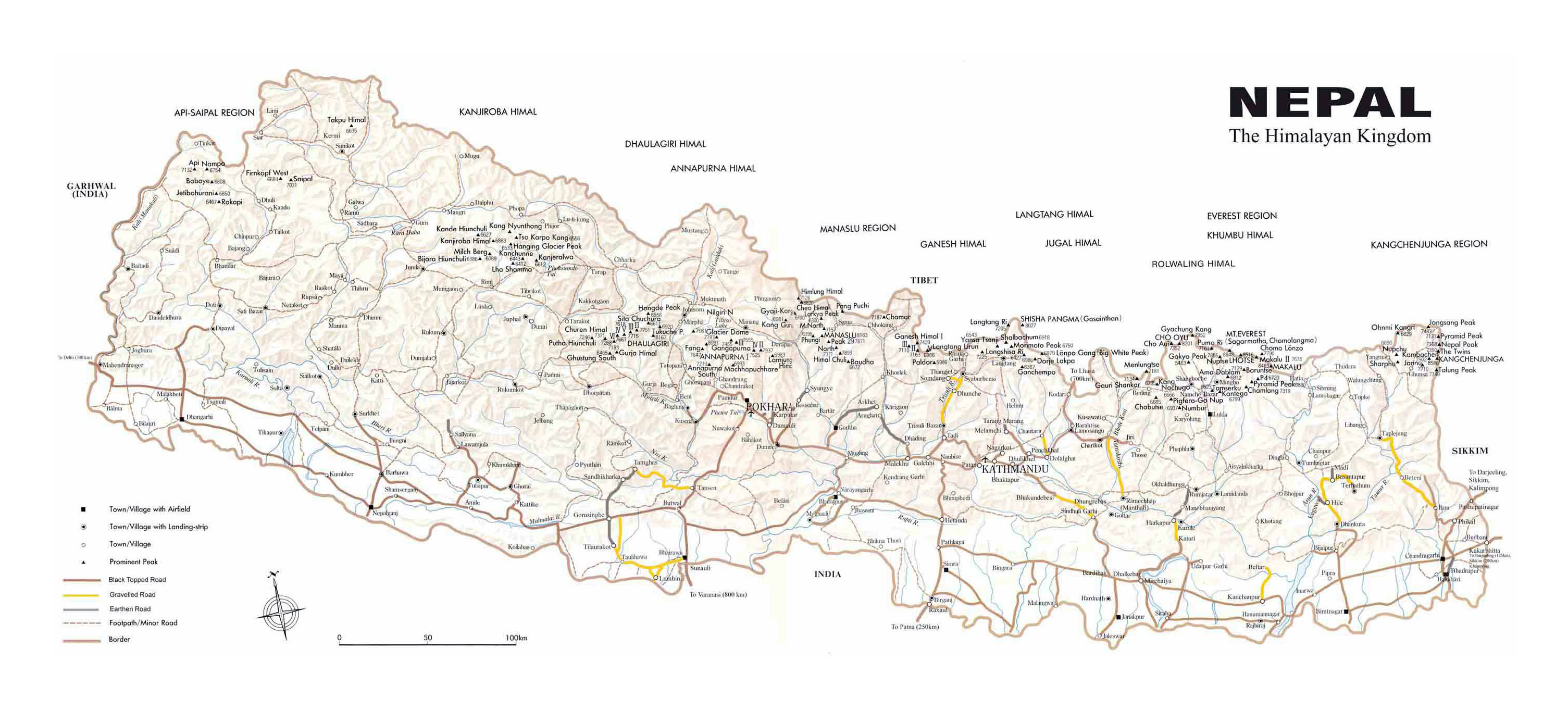 Large detailed map of nepal with relief roads and all cities large detailed map of nepal with relief roads and all cities sciox Gallery