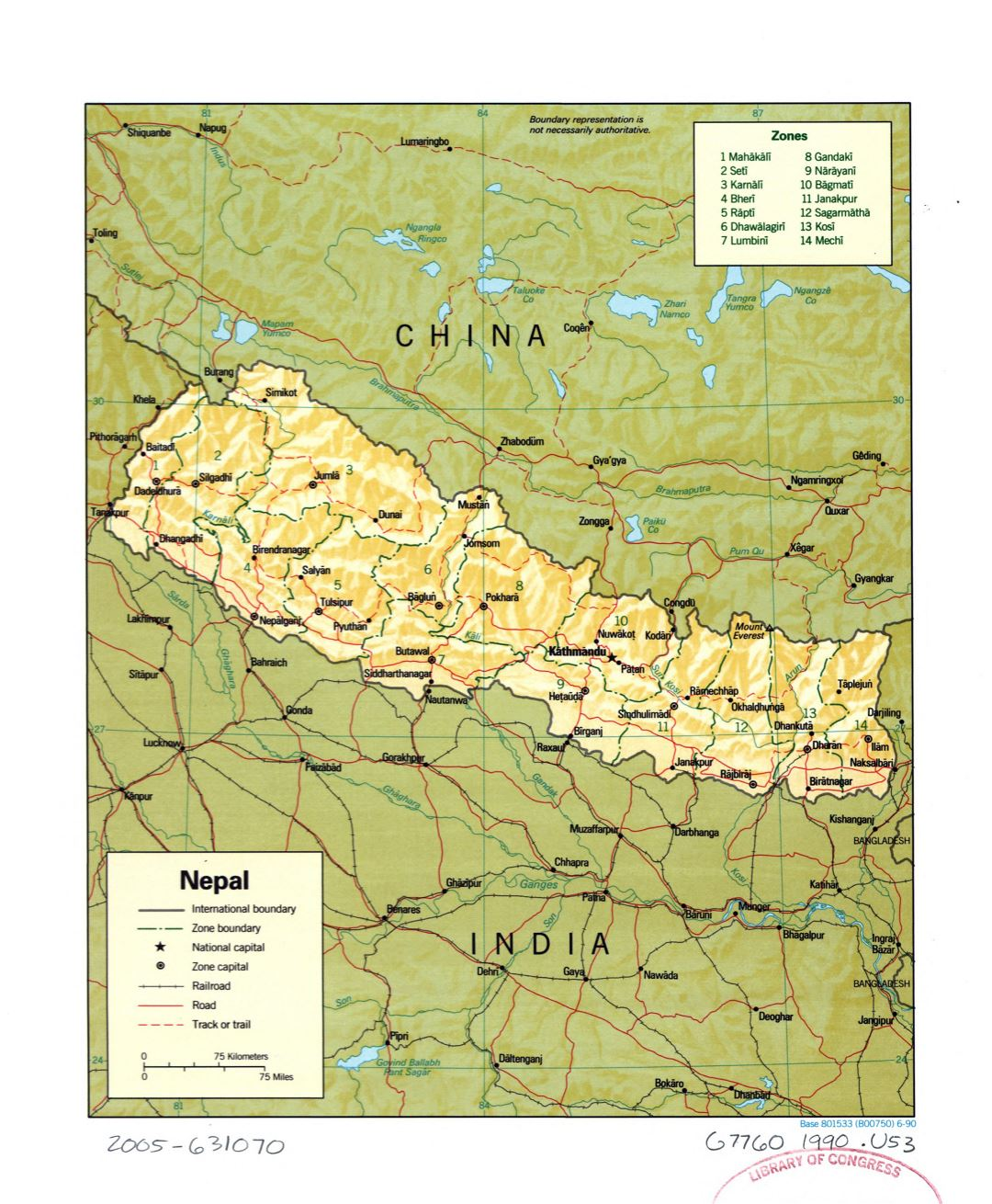 Large detailed political and administrative map of Nepal with relief, roads, railroads and major cities - 1990