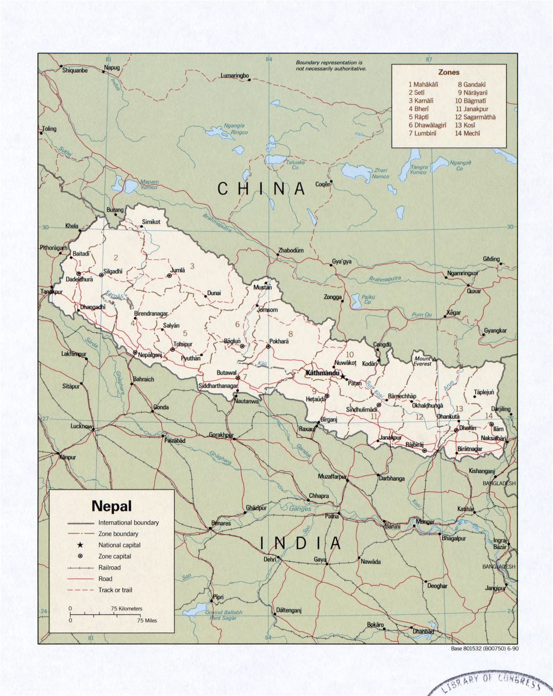Large detailed political and administrative map of Nepal with roads, railroads and cities - 1990