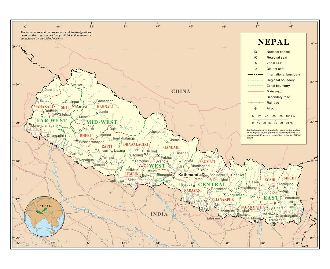 Maps of Nepal Detailed map of Nepal in English Tourist map