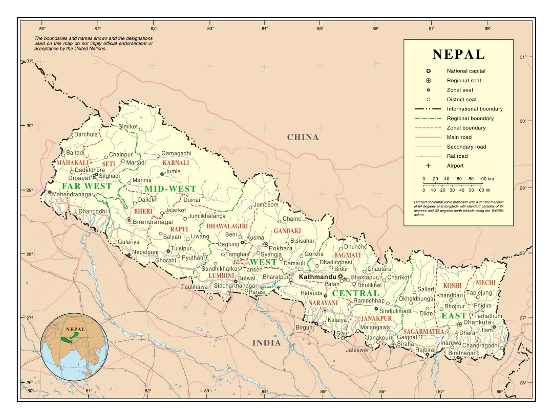 Large detailed political and administrative map of Nepal with roads, railroads, cities and airports