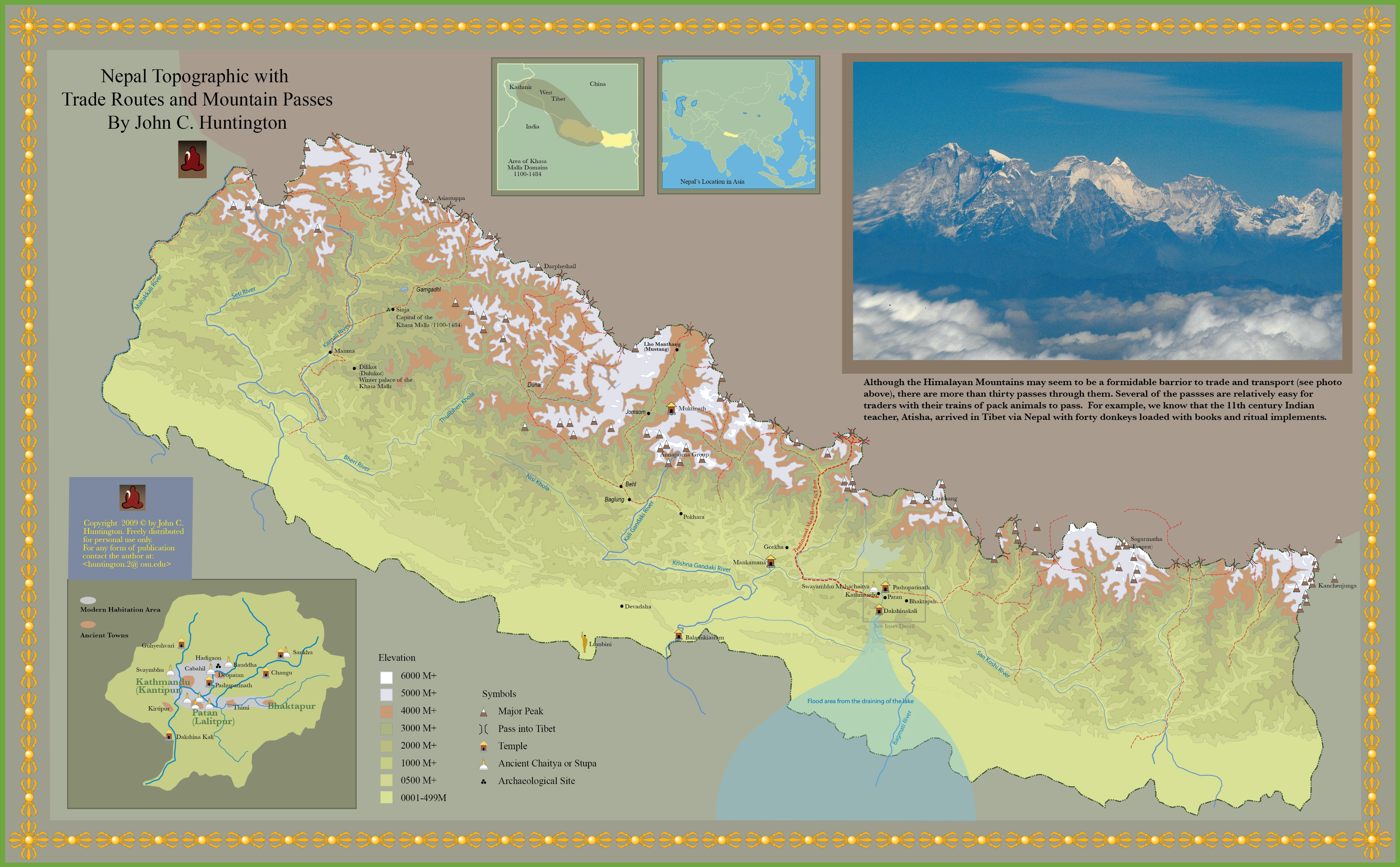 Large detailed topographic with trade routes and mountain passes