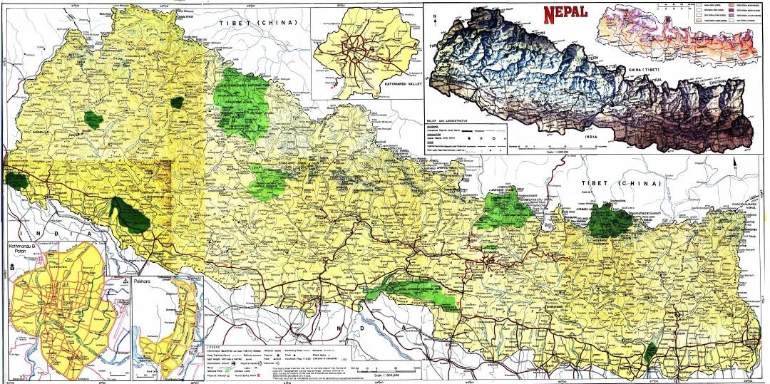 Large detailed topographical map of Nepal with roads, cities and other marks