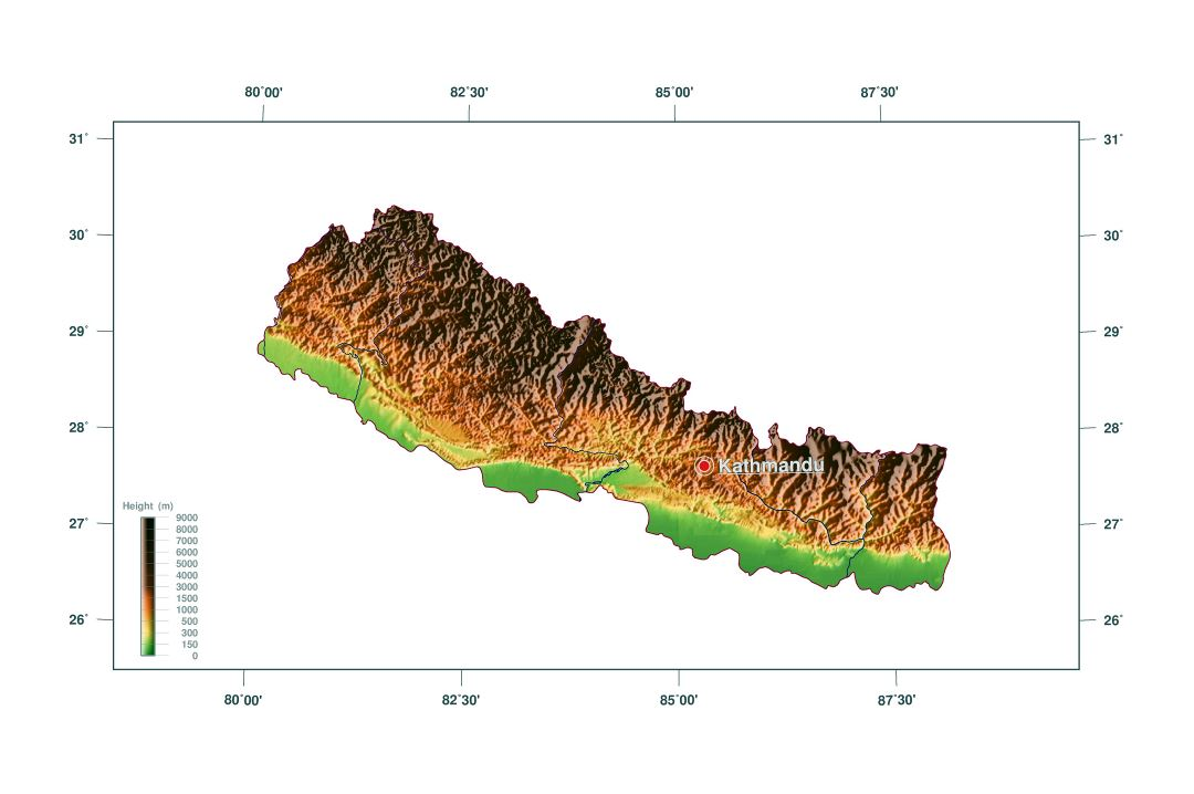 Large elevation map of Nepal