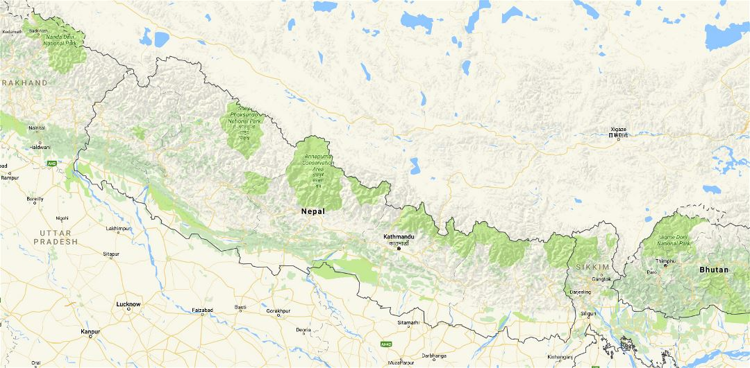Large map of Nepal