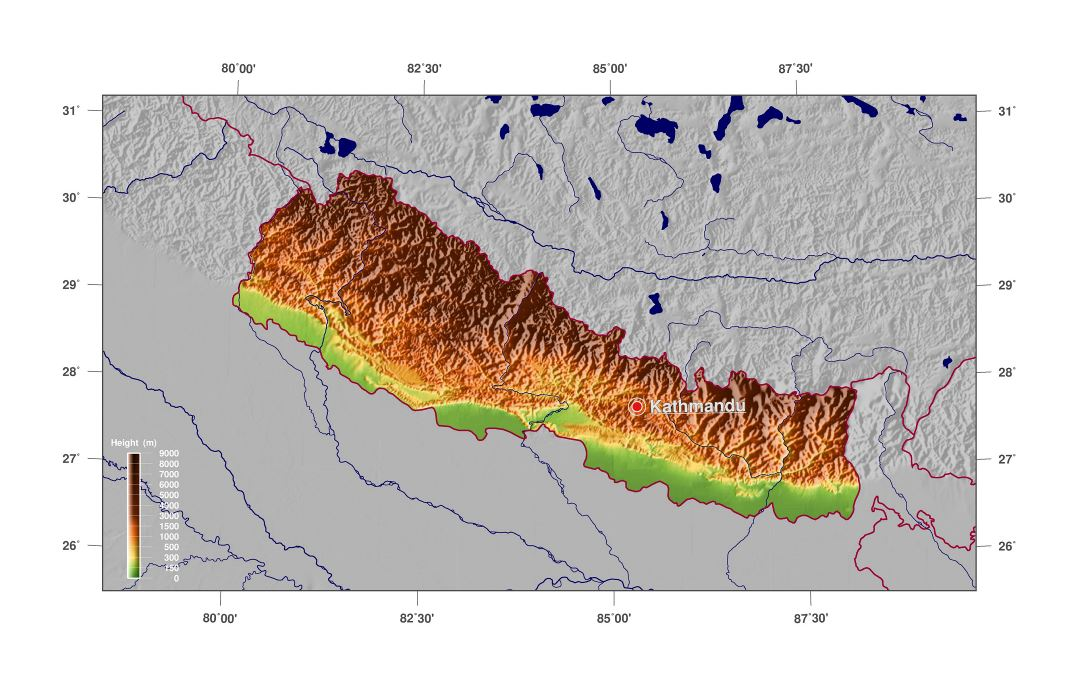 Large physical map of Nepal