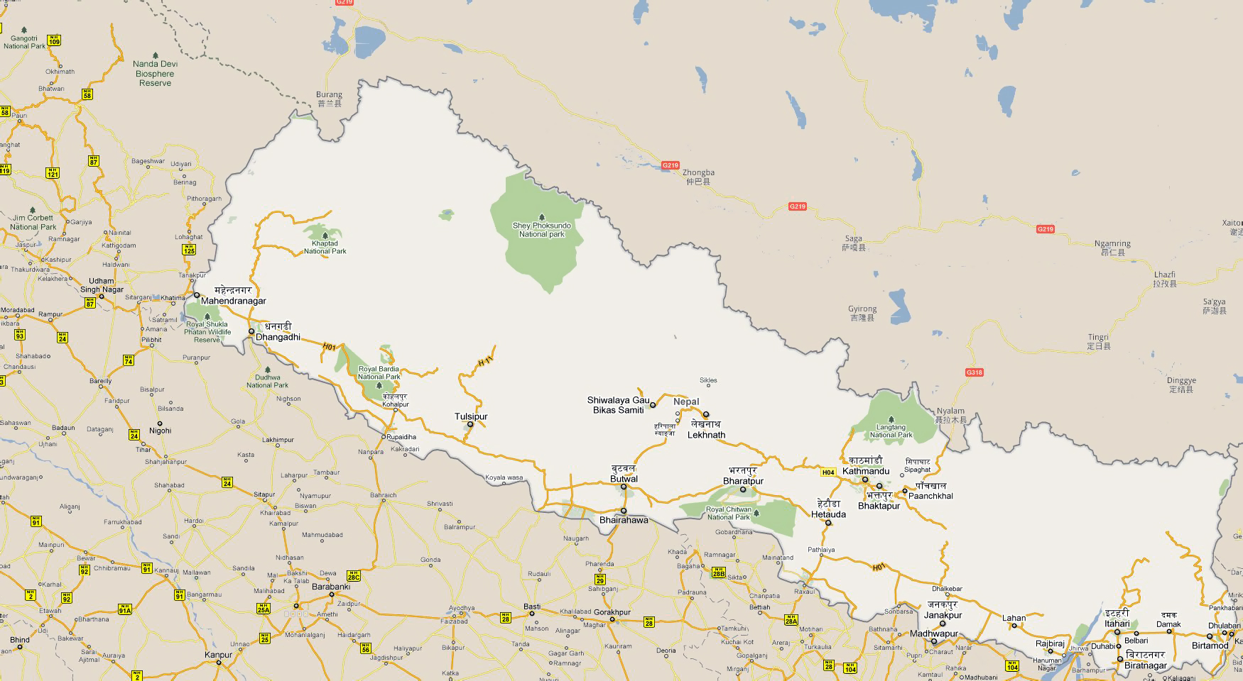 Large road map of Nepal with national parks and cities Nepal