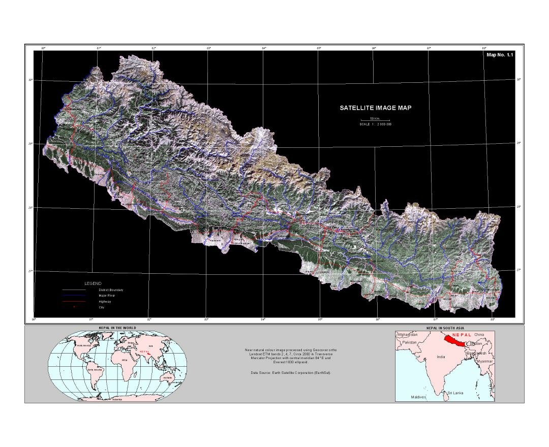 Large satellite map of Nepal Maps of