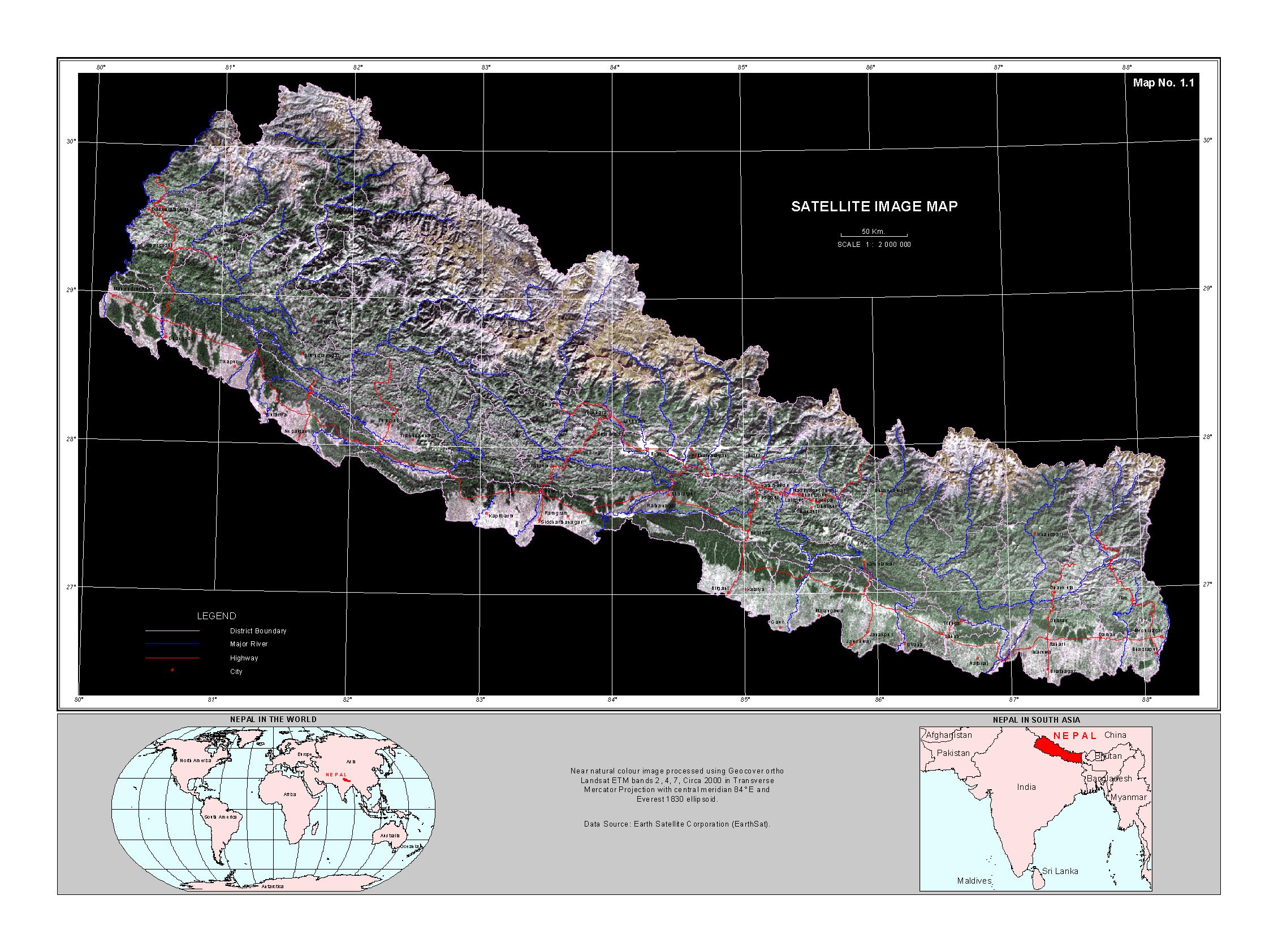 Large satellite map of Nepal  Nepal  Asia  Mapsland  Maps of