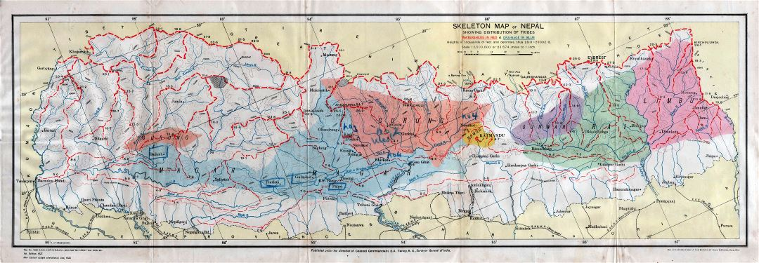 Large scale detailed old skeleton map of Nepal showing distribution of tribes - 1933