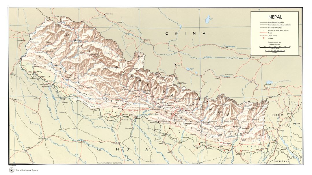 Large scale political map of Nepal with relief, roads, railroads, cities and airports - 1968