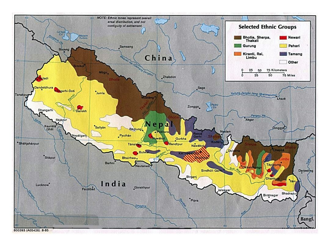 Large Selected Ethnic Groups map of Nepal - 1985