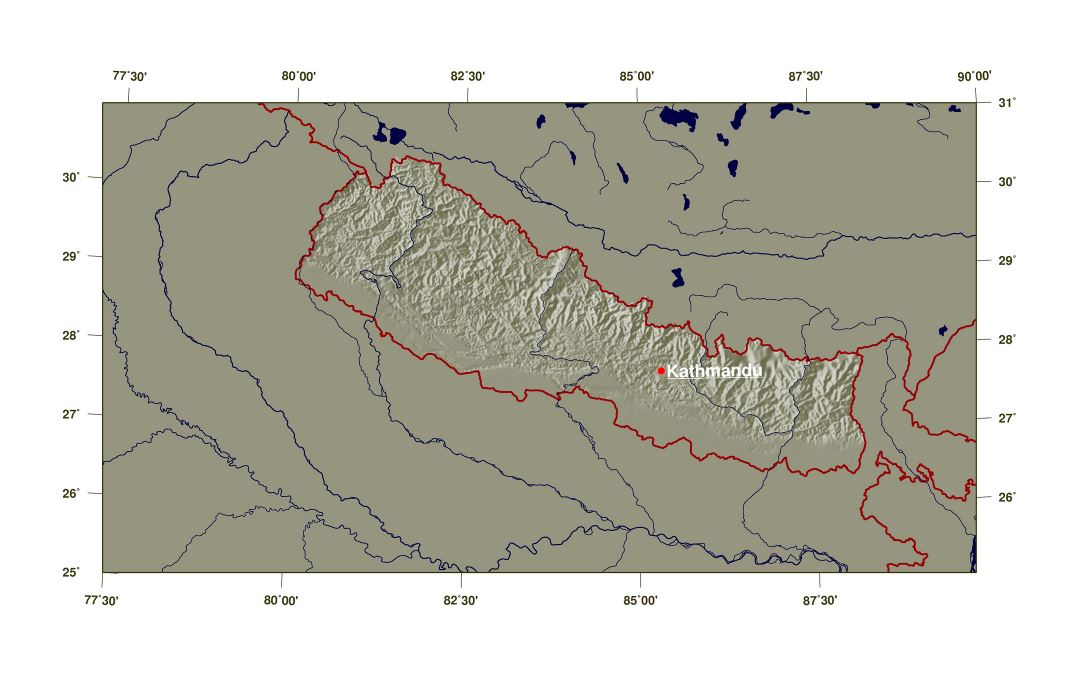 Large shaded relief map of Nepal