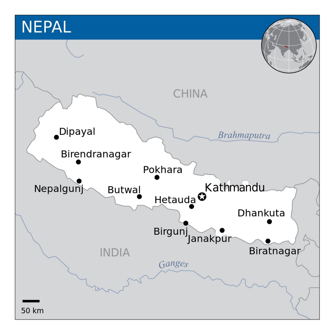 Map of Nepal with major cities