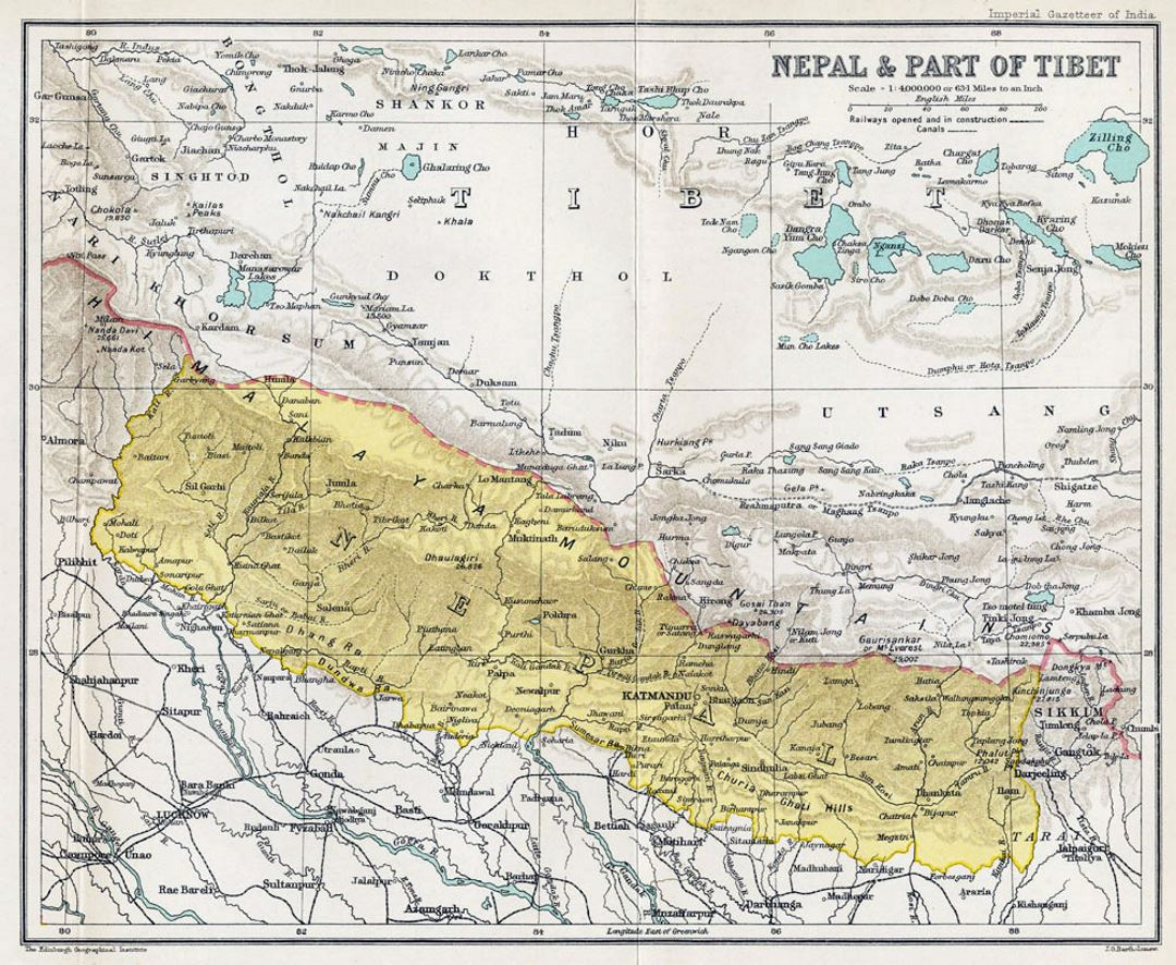 Old map of Nepal - 1907-1909