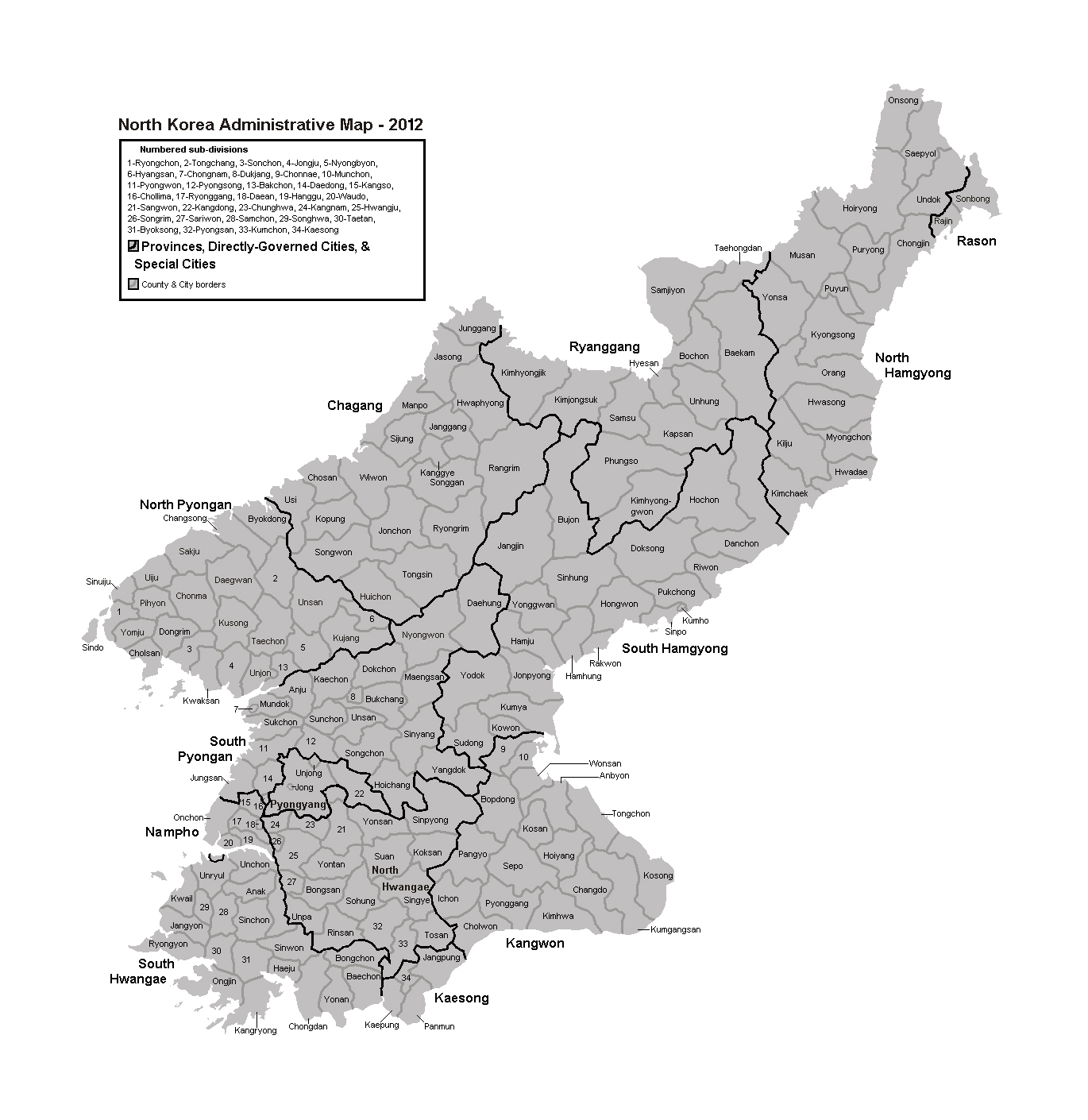 Administrative map of North Korea North Korea Asia Mapsland