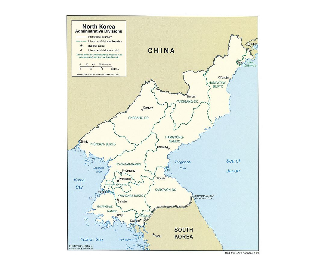 Detailed administrative divisions map of North Korea - 2005