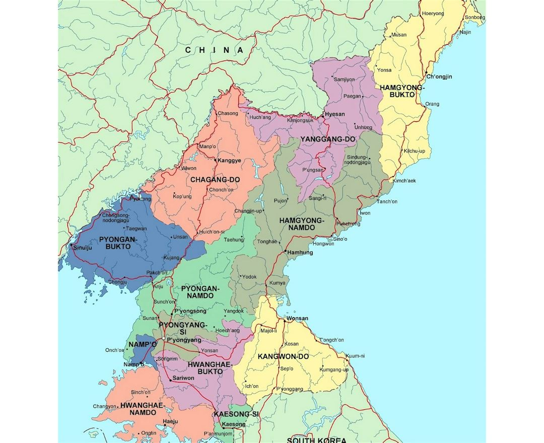 Detailed administrative map of North Korea