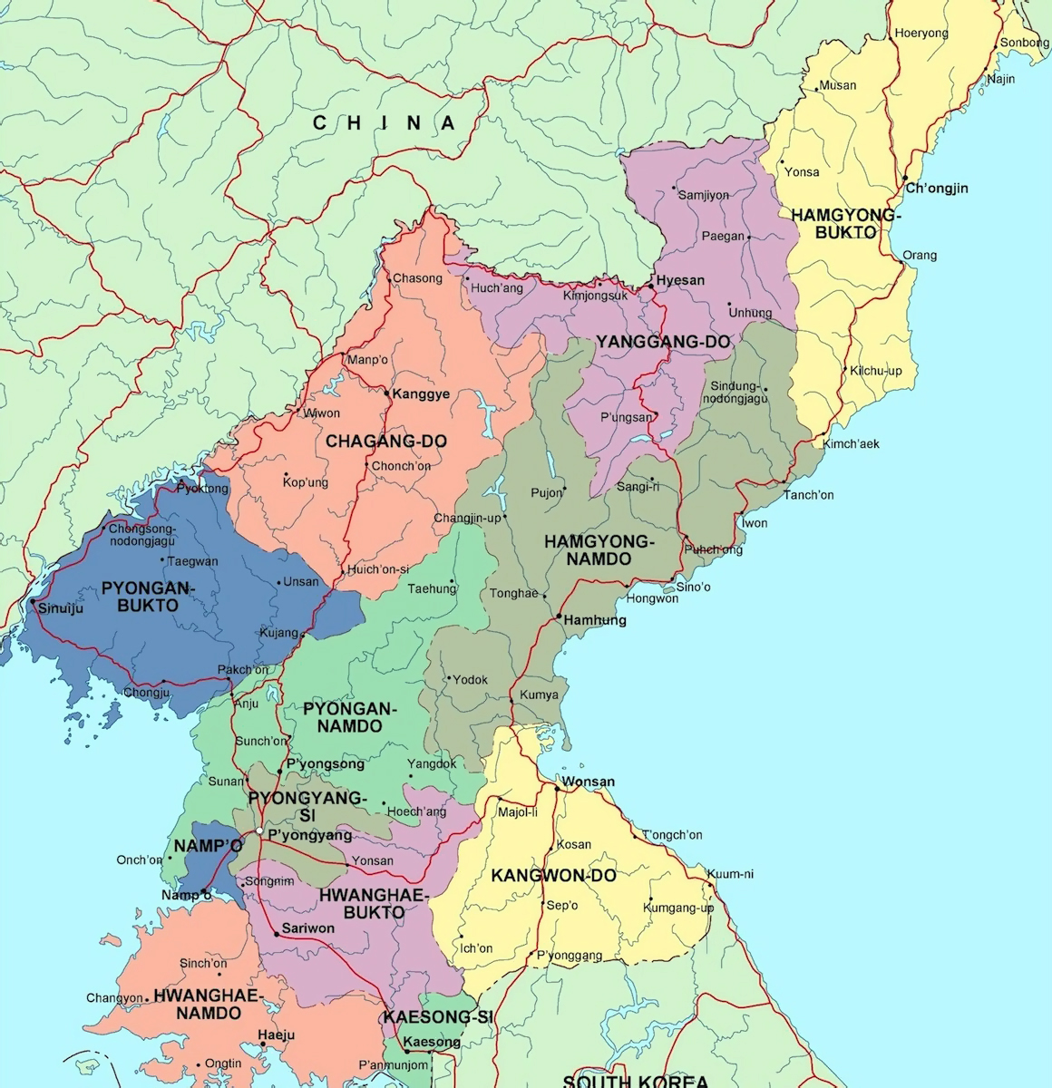 Detailed Administrative Map Of North Korea North Korea Asia