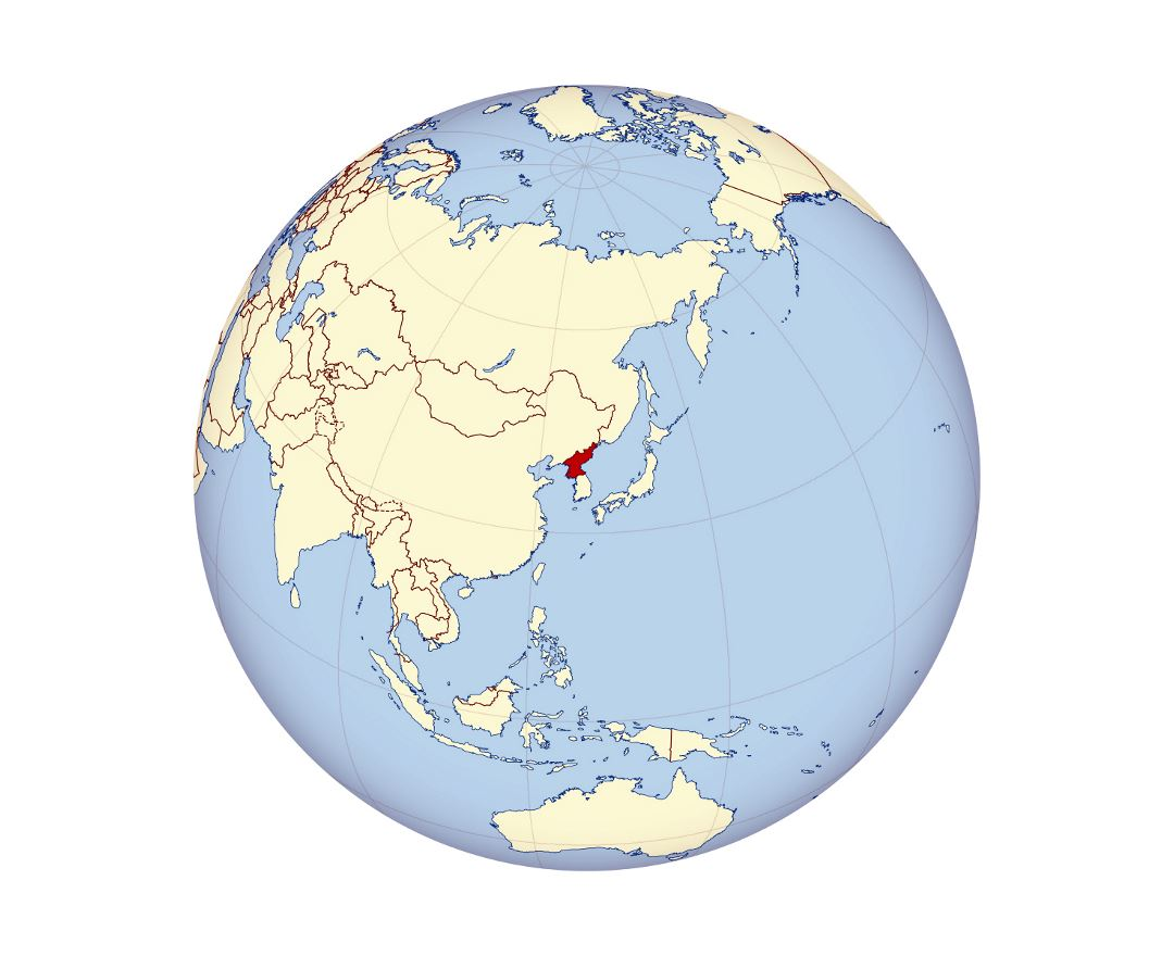 Detailed location map of North Korea in Asia