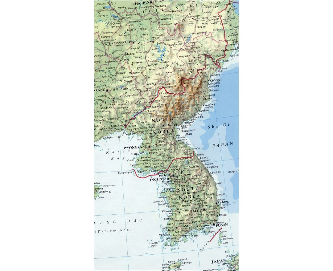 Detailed map of Korean Peninsula with relief, roads, major cities and airports