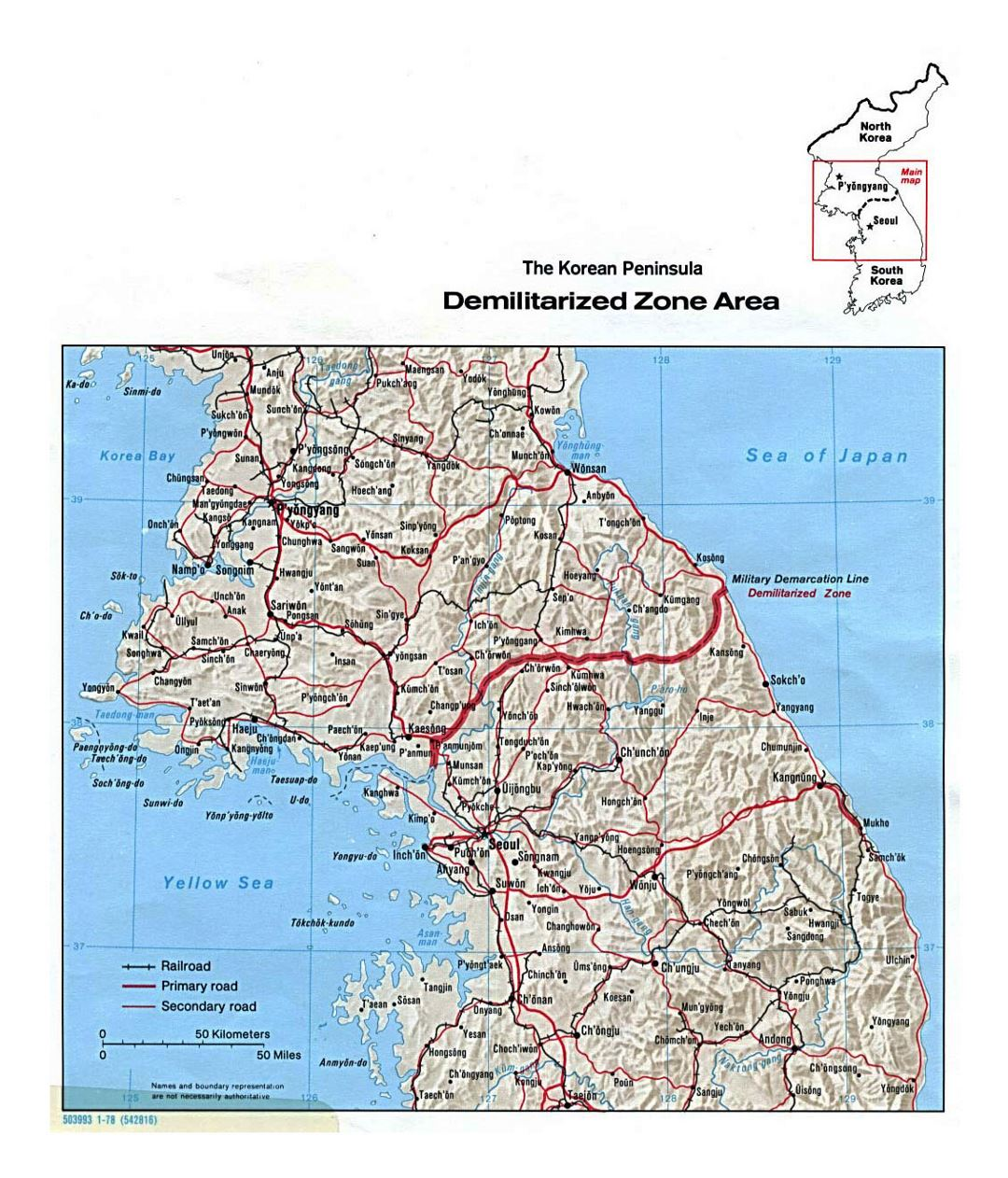 Detailed map of the Korean Peninsula Demilitarized Zone Area with relief - 1978