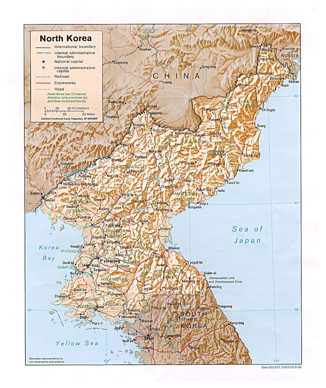 Detailed political and administrative map of North Korea with relief, roads, railroads and major cities - 1996