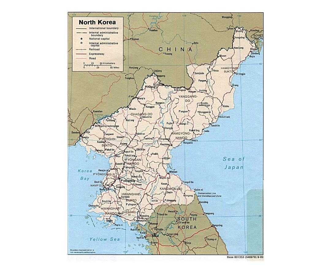 Detailed political and administrative map of North Korea with roads, railroads and major cities - 1989