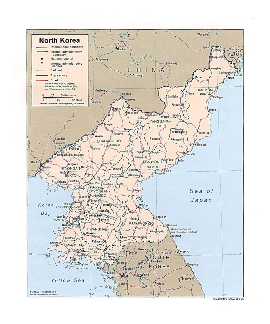 Detailed political and administrative map of North Korea with roads, railroads and major cities - 1996