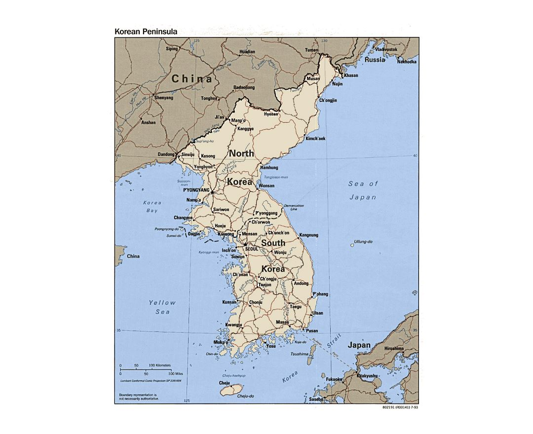 Detailed political map of Korean Peninsula with roads, railroads and major cities - 1993