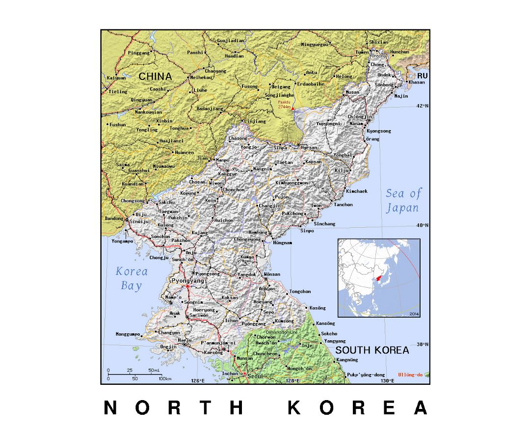 Detailed political map of North Korea with relief