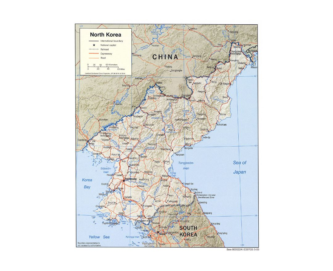 Detailed political map of North Korea with relief, roads, railroads and major cities - 2005