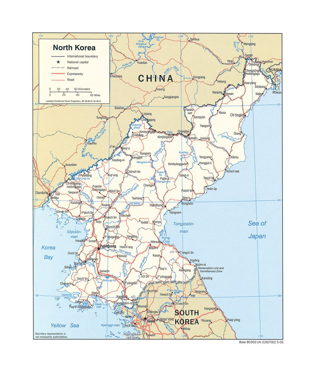 Detailed political map of North Korea with roads, railroads and major cities - 2005