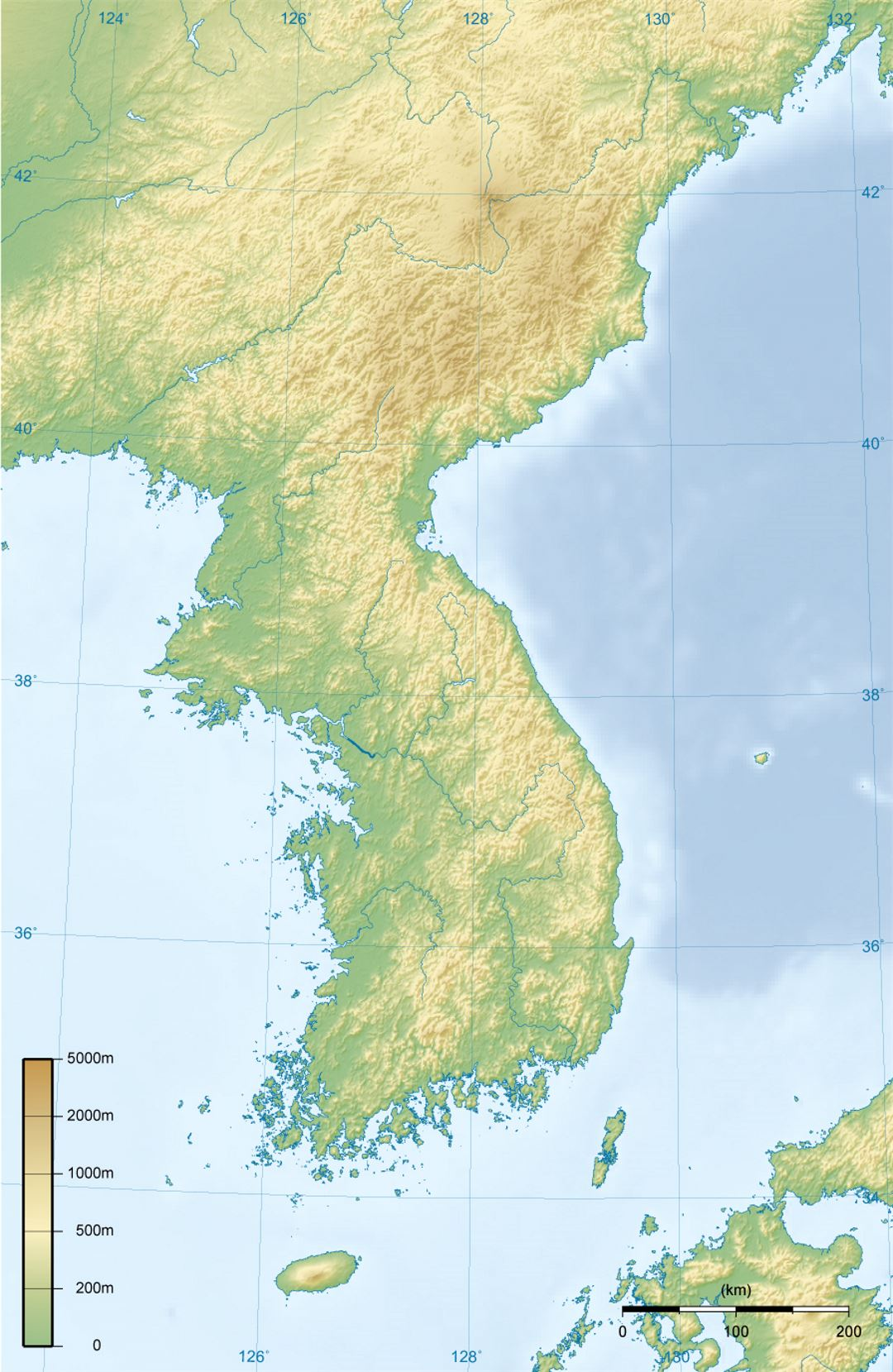Topographic Map Asia.Detailed Topographic Map Of Korean Peninsula North Korea Asia