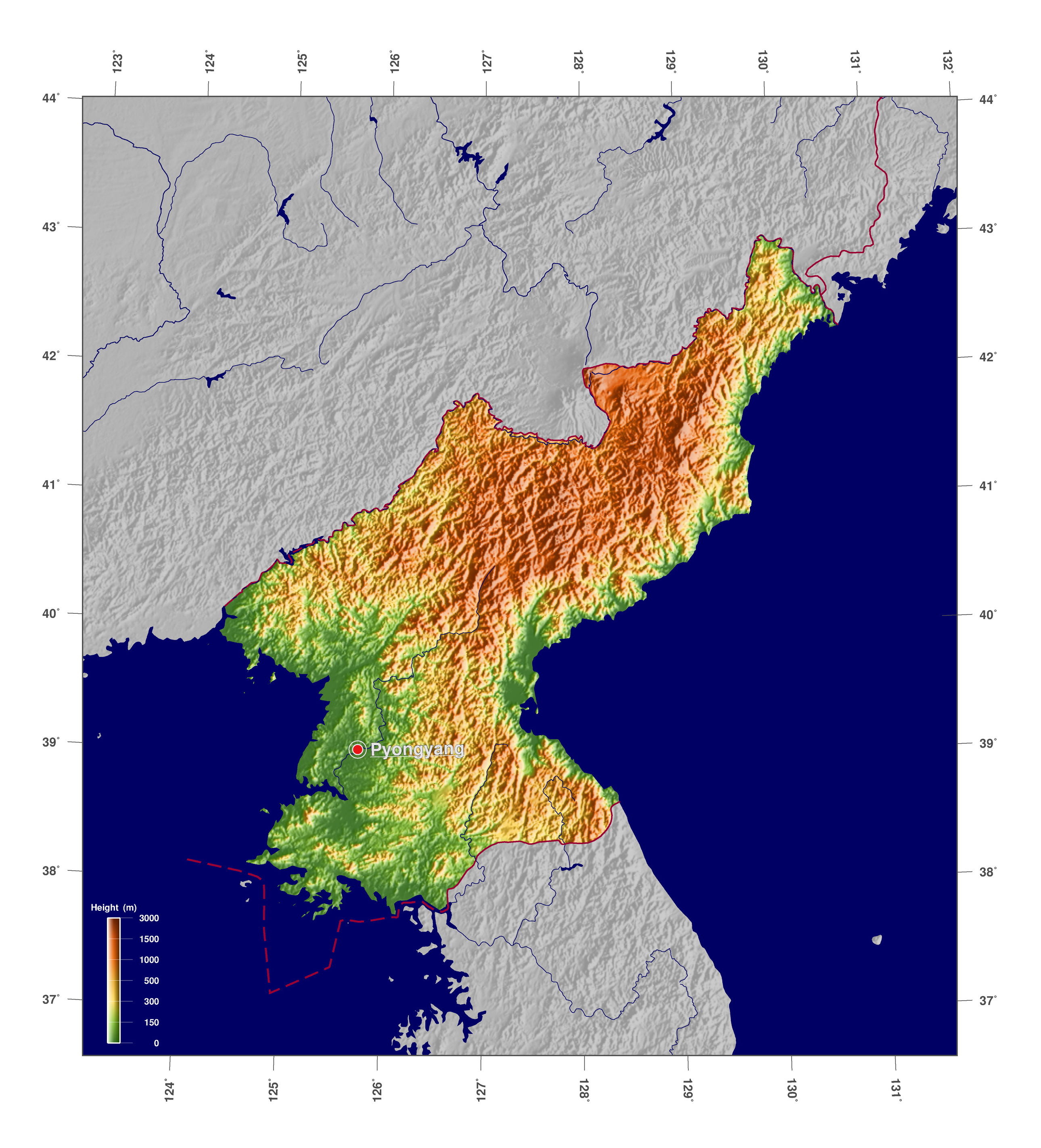Large detailed physical map of north korea north korea asia large detailed physical map of north korea gumiabroncs Images