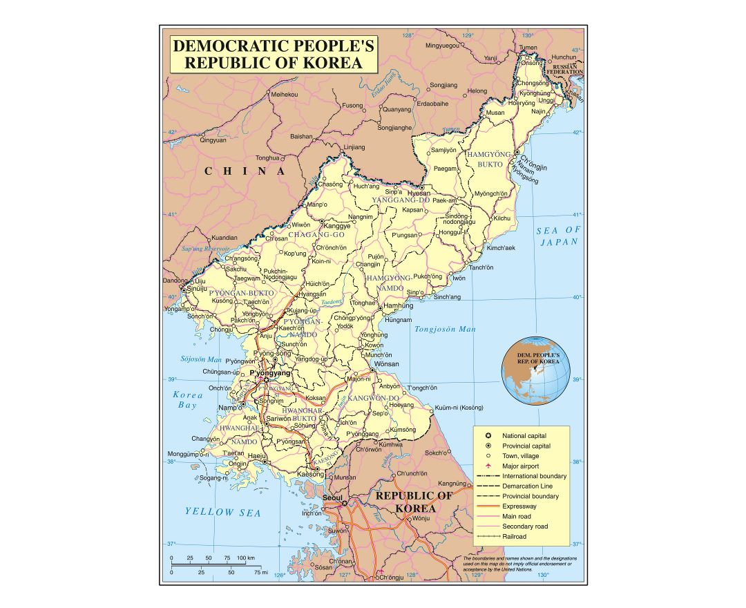Large detailed political and administrative map of North korea (DPRK) with roads, railroads, cities and airports