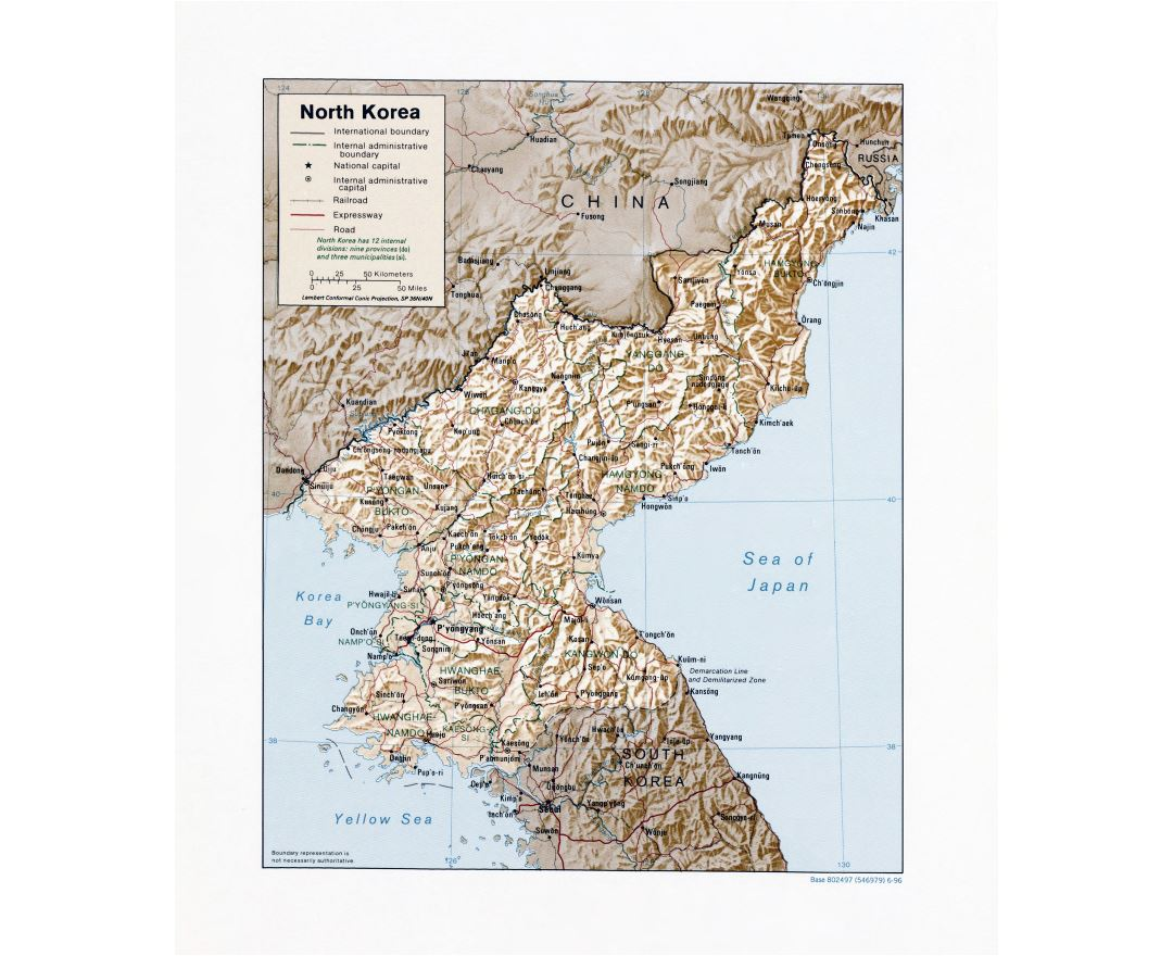 Large detailed political and administrative map of North Korea with relief, roads, railroads and major cities - 1996