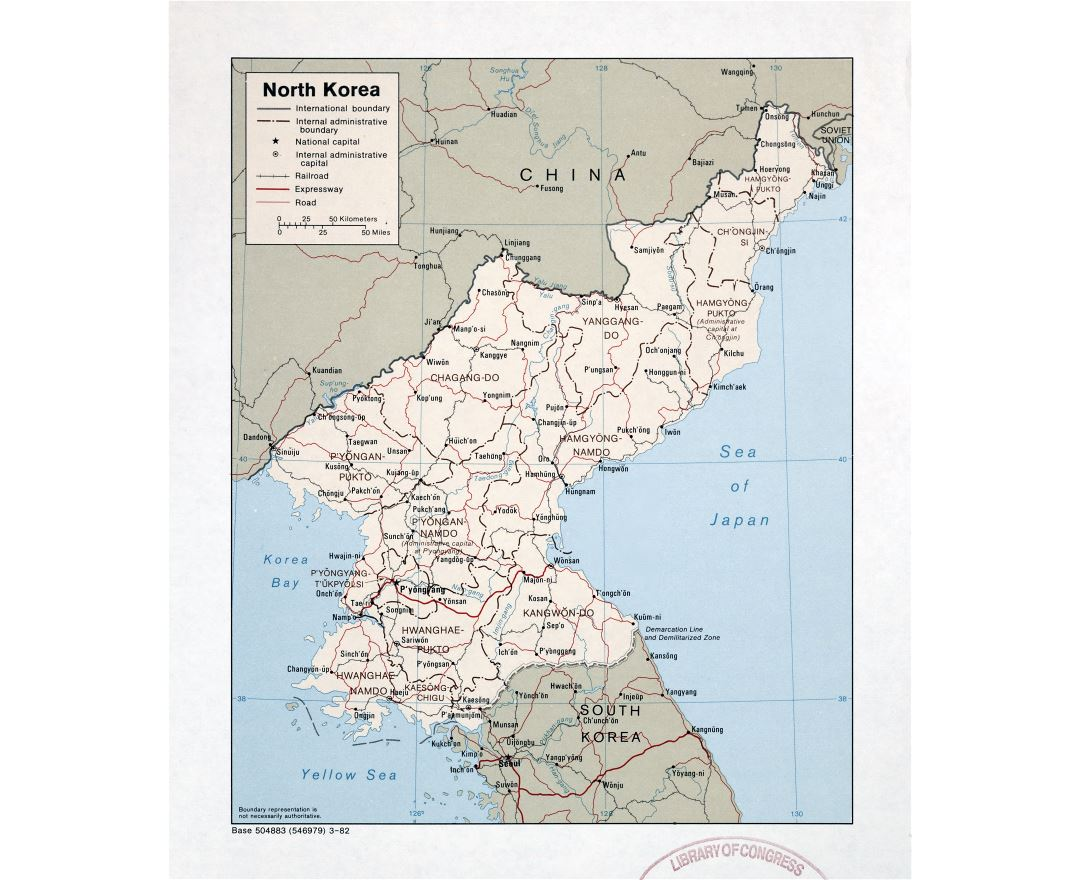 Large detailed political and administrative map of North Korea with roads, railroads and major cities - 1982