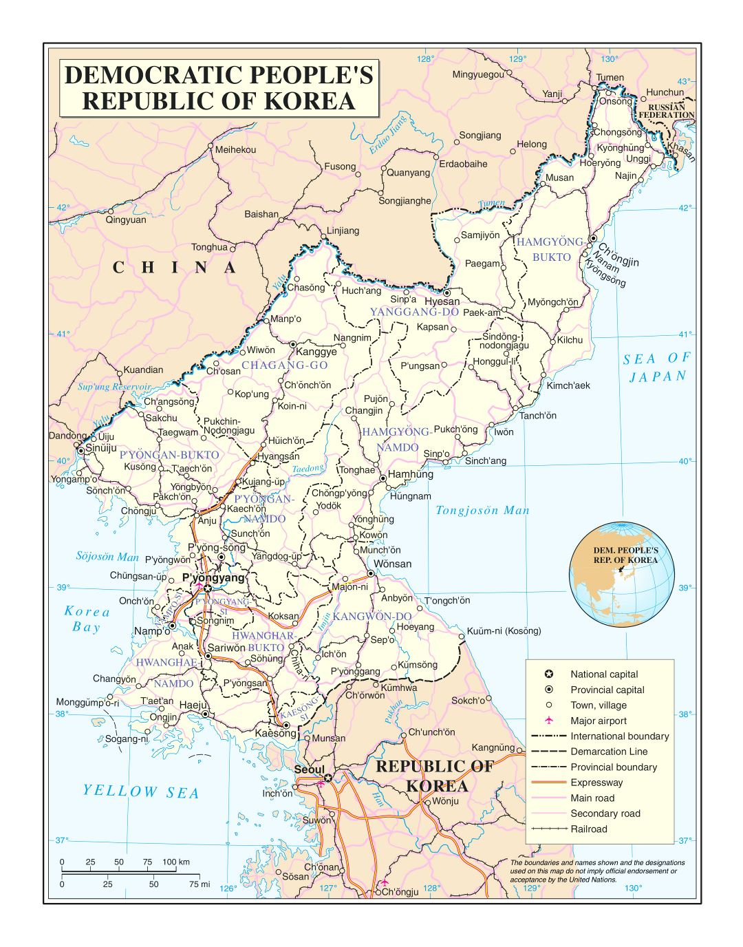 Large detailed political and administrative map of North Korea with roads, railroads, cities and airports